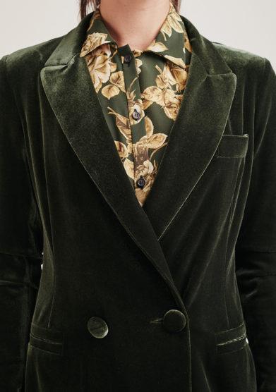 Nasco Unico blazer stretch velluto verde taglio sartoriale