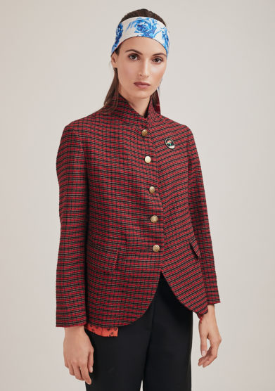 Nasco unico blazer sostenibile garza di lana check rosso