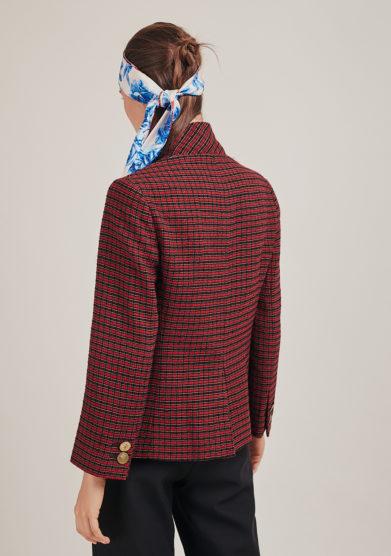blazer nasco unico sostenibile garza di lana check rosso