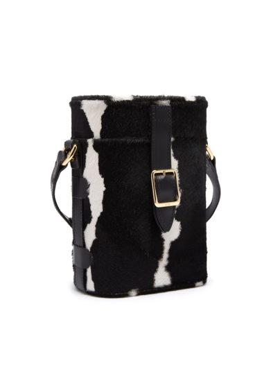 Officina Del Poggio mini safari bag bianca nera tracolla cavallino