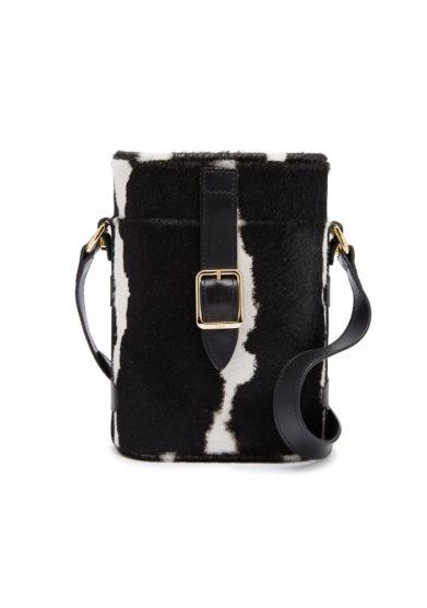 Officina del Poggio borsa cavallino mini safari stampata bianca nera