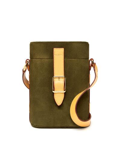 Officina del Poggio borsa mini safari pelle scamosciata verde scura