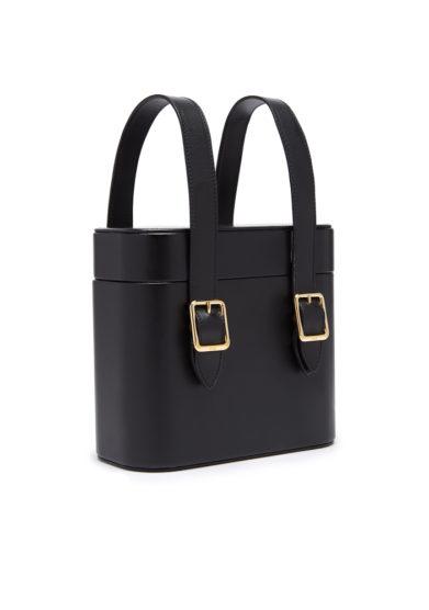 Officina del Poggio borsa nera picnic pelle conciata vegetale fibbie
