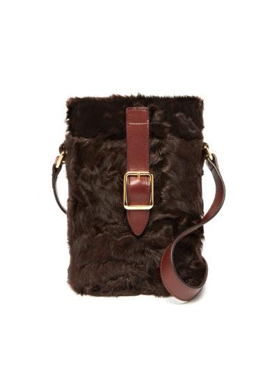 Officina del Poggio borsa mini safari mogano shearling