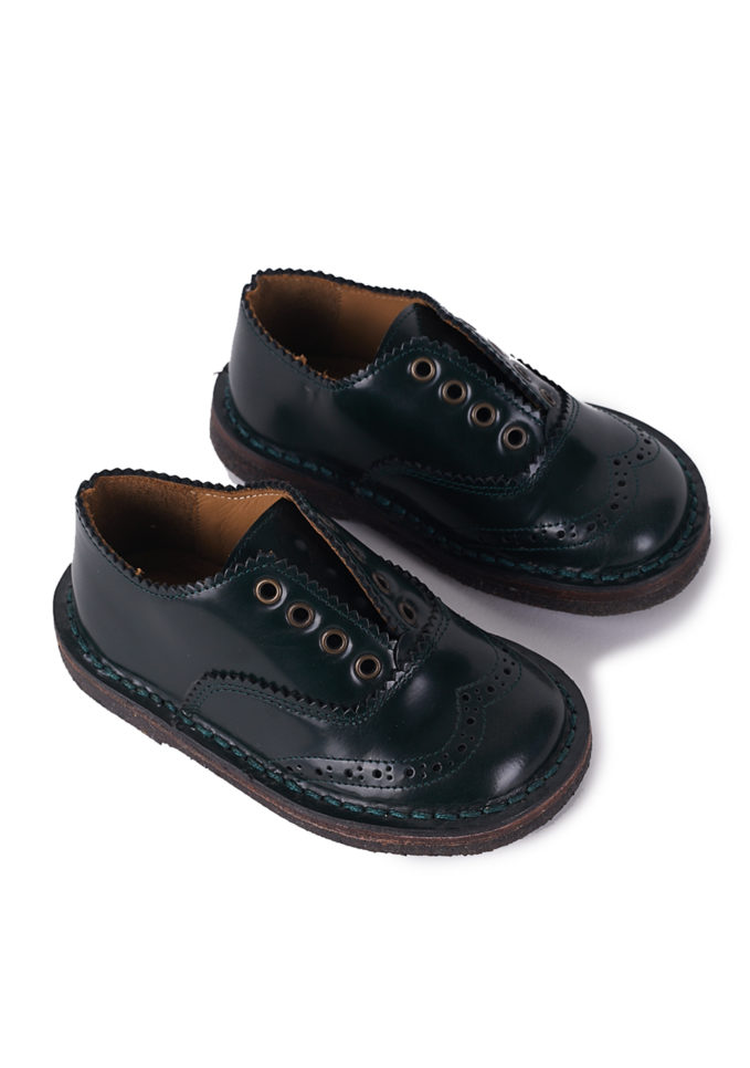 PèPè children scarpe classiche pelle verde scuro