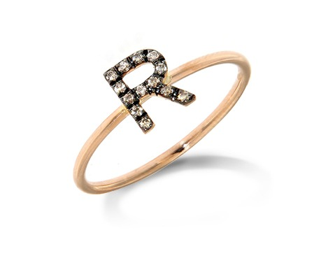 Roberto Callegari anello oro rosa lettera brillantini scuri personalizzabile