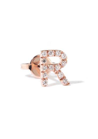 Roberto callegari orecchino lettera oro rosa e diamanti
