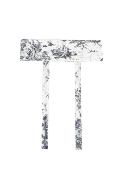 Toile society cintura obi in seta toile de jouy bianca