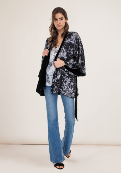 Toile society kimono corto Sophie double in seta e velluto