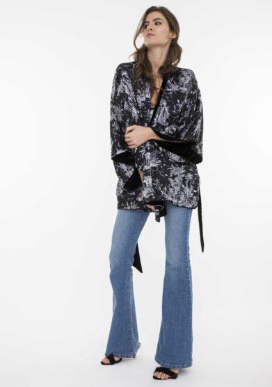 kimono corto Sophie double in seta e velluto toile society