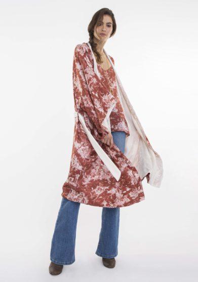 kimono lungo double in seta e velluto toile society