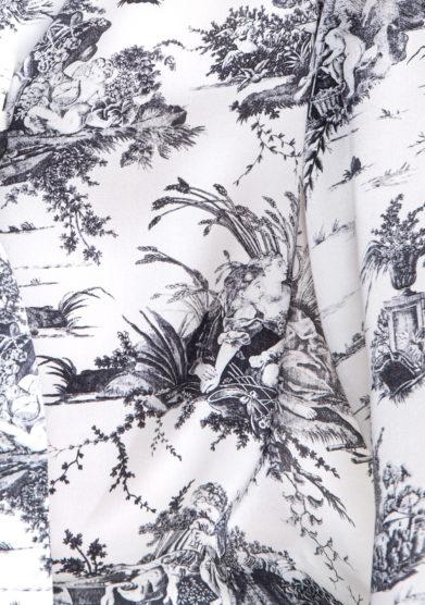 Toile society tessuto in seta stampa toile de Jouy bianco