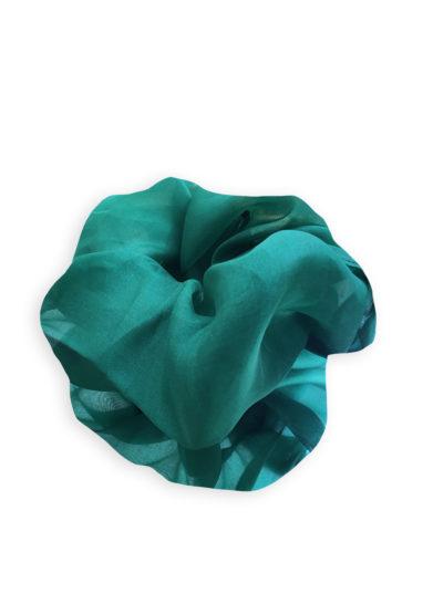 Annagiulia Firenze big scrunchie organza seta color smeraldo