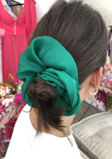 Annagiulia Firenze big scrunchie color smeraldo organza seta