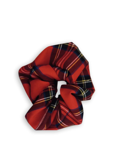 Annagiulia Firenze Tartan Wool Big Scrunchie