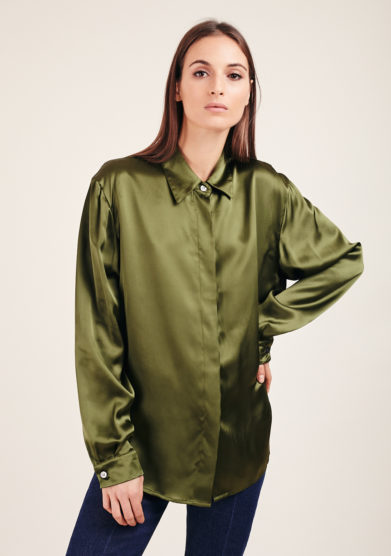 Chiara Bloom camicia verde satin ampia