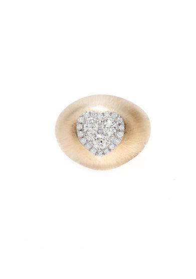 Isabì isabella pangrazi anello mignolo oro rosa satinato e cuore di diamanti