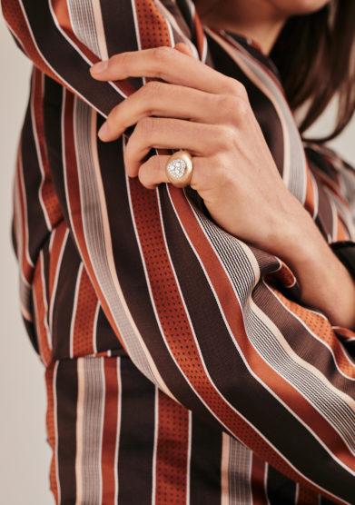Isabì isabella pangrazi anello mignolo e cuore di diamanti oro rosa satinato