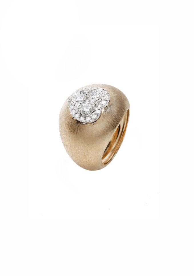 isabella pangrazi anello mignolo oro rosa satinato e cuore di diamanti isabì