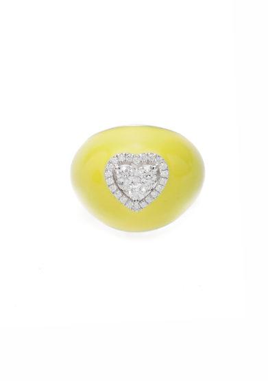 Isabì isabella pangrazi anello mignolo smaltato giallo in oro e cuore di diamanti piccolo