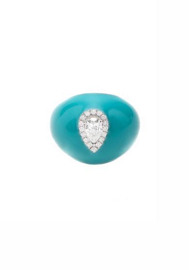 Isabì isabella pangrazi anello mignolo smaltato in oro e diamante taglio goccia front