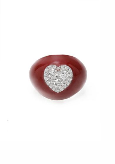 anello mignolo smaltato rosso in oro e cuore di diamanti Isabì isabella pangrazi