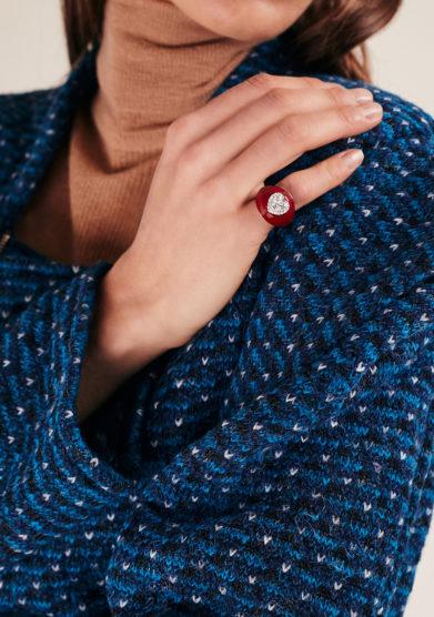 Isabì isabella pangrazi anello mignolo smaltato in oro e cuore di diamanti rosso