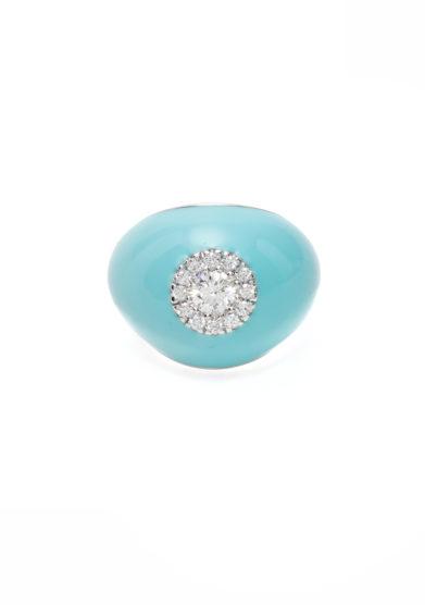 Isabì isabella pangrazi anello mignolo smaltato turchese in oro bianco e diamanti