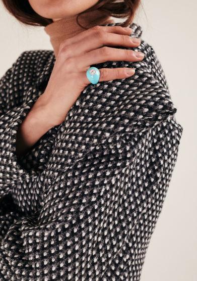 Isabì isabella pangrazi anello mignolo smaltato in oro bianco e diamanti turchese