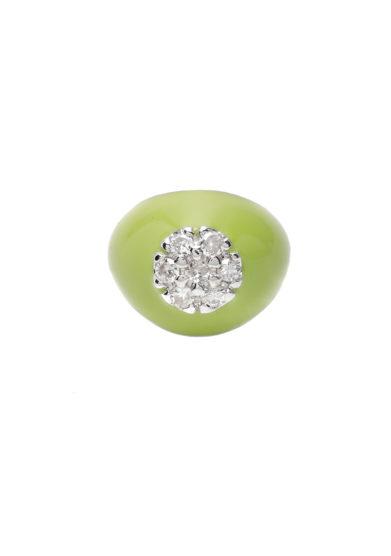 Isabì isabella pangrazi anello mignolo smaltato verde acido in oro e pavé di diamanti