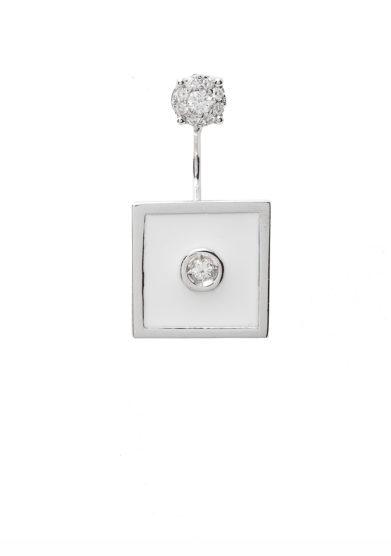 Isabì isabella pangrazi monorecchino earjacket smalto bianco oro e diamanti