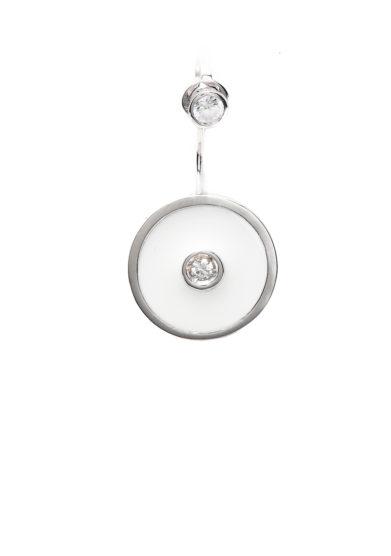 Isabì isabella pangrazi monorecchino earjacket smalto bianco oro e diamanti tondo