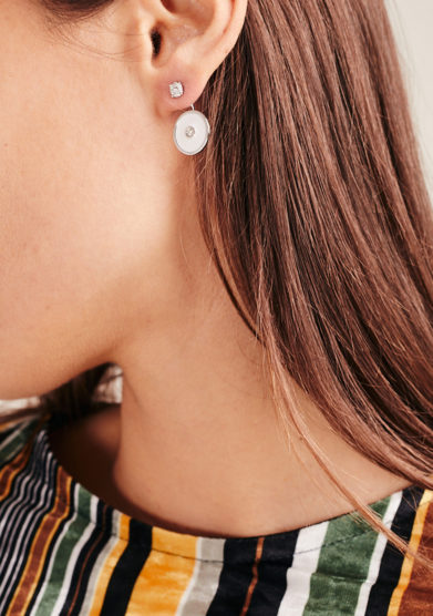 Isabì isabella pangrazi monorecchino earjacket smalto oro e diamanti tondo bianco