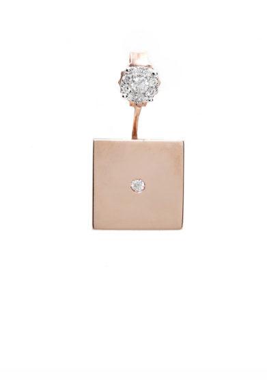 Isabì isabella pangrazi monorecchino quadrato Ear Jacket in oro rosa e diamanti