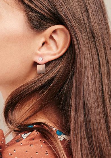 Isabì isabella pangrazi monorecchino quadrato Ear Jacket e diamanti in oro rosa