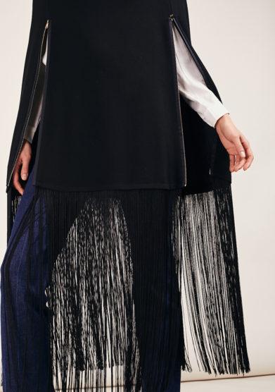 federica bonifaci poncho love me nera lunga con frange lana e seta frange kappe