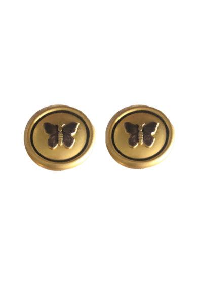 Bon bon orecchini bottone vintage butterfly