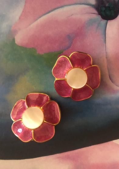 orecchini bottone vintage fiore bon bon