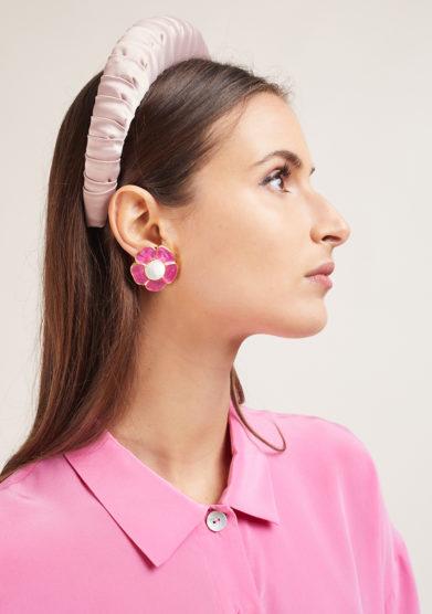 Bon bon orecchini bottone vintage fiore rosa