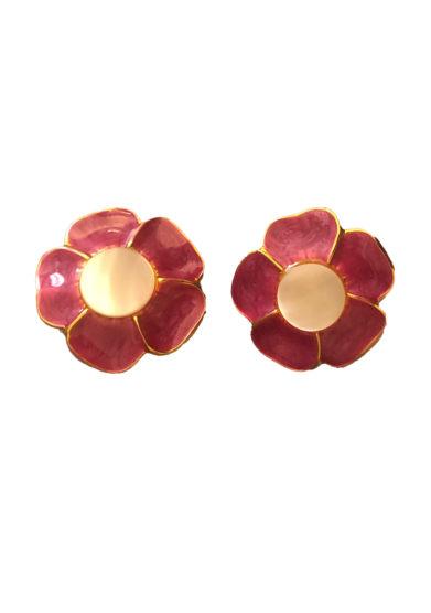 Bon bon orecchini bottone vintage fiore