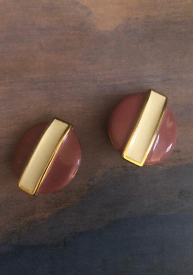 orecchini bottone vintage smalto rosa e bianco bon bon