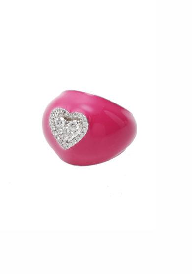 anello mignolo smaltato fucsia in oro e cuore piccolo di diamanti Isabì isabella pangrazi