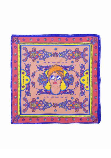 Serà fine silk foulard in seta stampa fucsia e blu elettrico