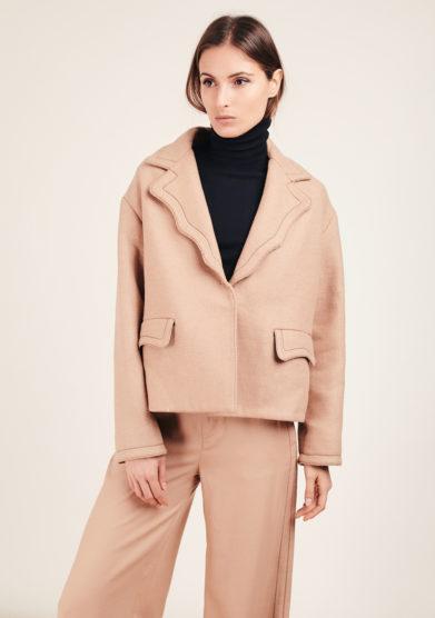 Tiziano guardini cappotto Ariel crop oversize boyfriend beige