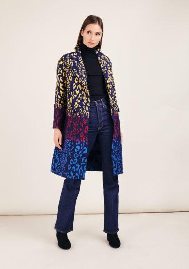 Tiziano guardini cappotto boyfriend oversize jacquard leopardato