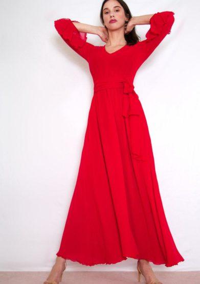 Valelì abito lungo rosso con fusciacca