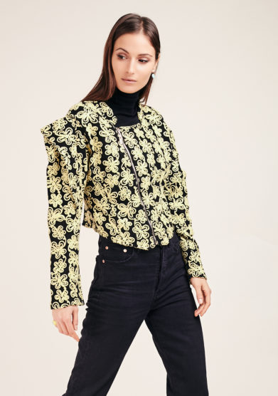 torero blazer misto lana fiori gialli vivia for love