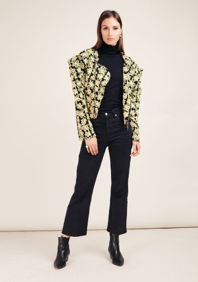 Vivia for love torero blazer misto lana fiori gialli