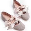 1979 ballerina scamosciata tortora fiocchi raso cipria