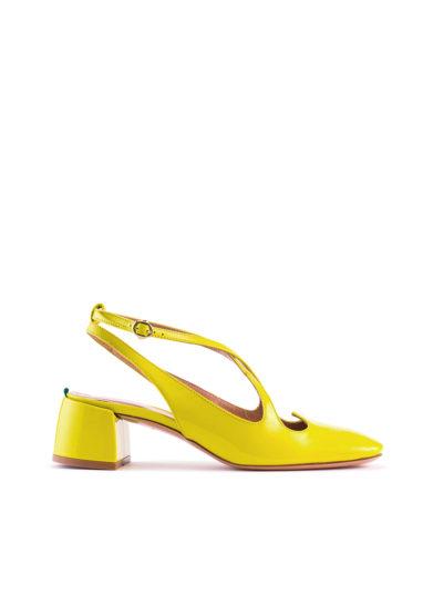 A.Bocca sling back in vernice amarillo